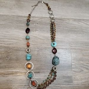 Multi-colored stone beaded necklace